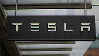 NEW YORK, NY - AUGUST 31: The TESLA logo is pictured at its Manhattan store on August 31, 2020 in New York City. Tesla shares are more affordable today after their split, which does not make the stock a more attractive investment than it was pre-split price. (Photo by Eduardo MunozAlvarez/VIEWpress)