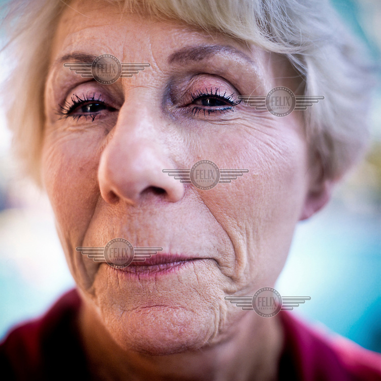 A portrait of Joan Kulpa who is a member of the Aquadettes at Laguna Woods, California. The Aquadettes are a group of women ageing from their early 60s upwards who meet to practice synchronised swimming. Every year, they practice together, they make costumes together, they swim together, and at the end, they perform together.