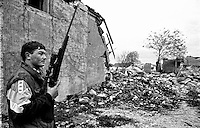 Balkan War: Sniper on his way to fron line, Zemunik Donji, Croatia, 1992