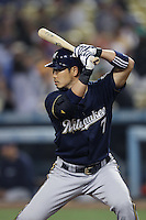 Norichika Aoki #7 of the Milwaukee Brewers bats against the Los Angeles Dodgers at Dodger Stadium on May 31, 2012 in Los Angeles,California. Milwaukee defeated Los Angeles 6-2.(Larry Goren/Four Seam Images)