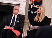 """Director of the National Economic Council Larry Kudlow and presidential advisor Ivanka Trump participate in the """"Our Pledge to America's Workers"""" event at The White House in Washington, DC, October 31, 2018. Credit: Chris Kleponis / Pool via CNP"""