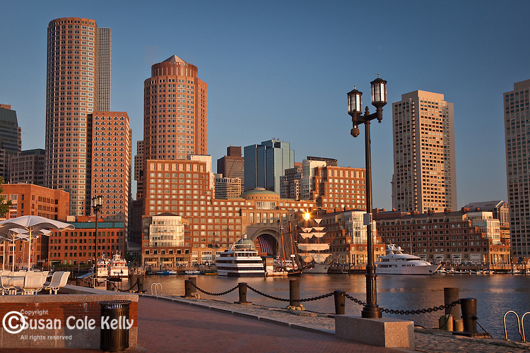 Sunrise on Rowes Wharf in Boston Harbor, Boston, MA, USA