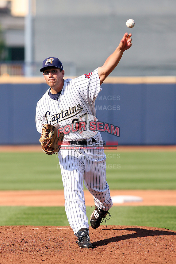June 11th 2008:  Pitcher John Gaub of the Lake County Captains, Class-A affiliate of the Cleveland Indians, during a game at Classic Park in Eastlake,OH.  Photo by:  Mike Janes/Four Seam Images