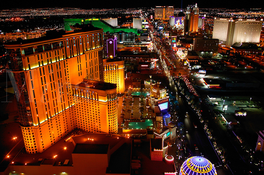 The view of the strip and The Aladdin from the Eiffel Tower at the Paris resort hotel and casino in Las Vegas, Nevada.