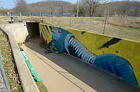 NWA Democrat-Gazette/BEN GOFF @NWABENGOFF<br /> Kenneth Siemens, an artist from Bentonville, paints a mural titled 'Hello' Sunday, March 19, 2017, in the tunnel under Northwest A Street on the North Bentonville Trail. The mural has been commissioned through the Bentonville Public Art Advisory Committee's 'Tunnel Vision' Project' which has already brought public art to two other trail tunnels in Bentonville.