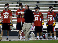 Maryland head coach Dave Cottle yells to his team during the ACC men's lacrosse tournament semifinals in College Park, MD.  Maryland defeated North Carolina, 13-5.