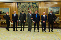 30.07.2012. King Juan Carlos I of Spain attends the promise of the President of the Court of Auditors, Ramon Alvarez de Miranda Garcia, at the Royal Palace of La Zarzuela. In the image  (L-R) Gonzalo Moliner Tamborero, President Supreme Tribunal, Pio Garcia Escudero, Senate President, Mariano Rajoy Brey, President of governancy., King Juan Carlos I, Ramón Álvarez de Miranda García and Alberto Ruiz Gallardon, Minister of Justice . (Alterphotos/Marta Gonzalez) *NortePhoto.com<br />