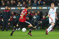 Swansea City manager Paul Clement watches Sam Clucas of Swansea City is marked by Ander Herrera of Manchester United during the Carabao Cup Fourth Round match between Swansea City and Manchester United at the Liberty Stadium, Swansea, Wales, UK. Tuesday 24 October 2017