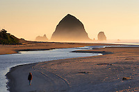 Ecola Creek and hiker at Cannon Beach. Oregon