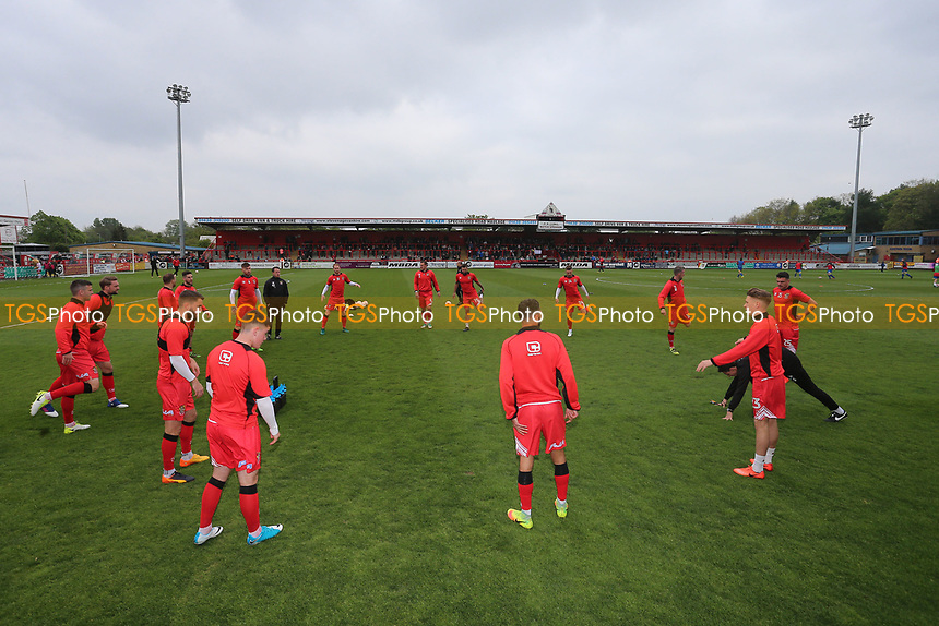 Stevenage players warm up during Stevenage vs Accrington Stanley, Sky Bet EFL League 2 Football at the Lamex Stadium on 6th May 2017