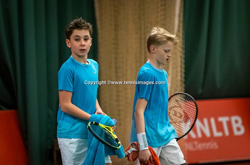 Wateringen, The Netherlands, December 15,  2019, De Rhijenhof , NOJK juniors doubles, final boys 12 years, Thijs Boogaard (NED) Sander Paradis (NED) (R)<br /> Photo: www.tennisimages.com/Henk Koster