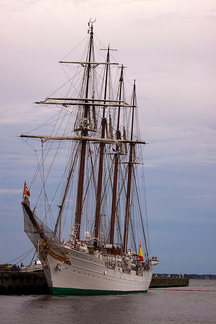 Tall  ship schooner Juan Sebastian de Elcano moored at Port of Pensacola.