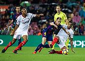 4th November 2017, Camp Nou, Barcelona, Spain; La Liga football, Barcelona versus Sevilla; Ivan Rakitic of FC Barcelona fights for the ball against N'Zonzi and Muriel