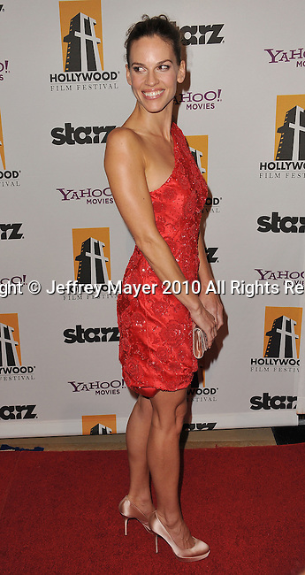 BEVERLY HILLS, CA. - October 25: Hilary Swank attends the 14th Annual Hollywood Awards Gala Presented By Starz at The Beverly Hilton hotel on October 25, 2010 in Beverly Hills, California.