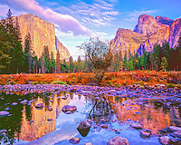 El Capitan and Yosemite walls relfected in Merced River, Yosemite National Park, California Sierra Nevada Mountains