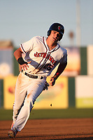 Sam Hillard (25) of the Lancaster JetHawks runs the bases during a game against the Lake Elsinore Storm at The Hanger on June 12, 2017 in Lancaster, California. Lancaster defeated Lake Elsinore, 13-6. (Larry Goren/Four Seam Images)
