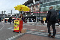 Programme seller Emirates stadium during Arsenal vs West Ham United, Premier League Football at the Emirates Stadium on 7th March 2020