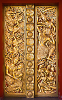 This temple door displays fine craftsmanship with beautiful gilded figures.<br /> (Photo by Matt Considine - Images of Asia Collection)