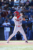 Miguel Aparicio (36) of the Spokane Indians bats against the Hillsboro Hops at Ron Tonkin Field on July 22, 2017 in Hillsboro, Oregon. Spokane defeated Hillsboro, 11-4. (Larry Goren/Four Seam Images)