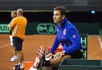 September 08, 2014,Netherlands, Amsterdam, Ziggo Dome, Davis Cup Netherlands-Croatia, Training Dutch Cup Team, jean-julien Rojer warming up<br /> Photo: Tennisimages/Henk Koster