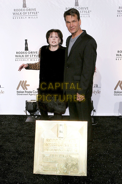 SHIRLEY RITTS & PATRICK SWAYZE.2005 Rodeo Drive Walk Of Style Honoring Herb Ritts and Mario Testino held on Rodeo Drive. Beverly Hills, CA.March 20th, 2005.Photo Credit: Jacqui Wong/AdMedia.full length black suit.www.capitalpictures.com.sales@capitalpictures.com.© Capital Pictures.