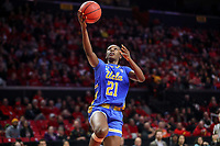 College Park, MD - March 25, 2019: UCLA Bruins forward Michaela Onyenwere (21) makes a layup during game between UCLA and Maryland at  Xfinity Center in College Park, MD.  (Photo by Elliott Brown/Media Images International)