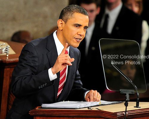 United States President Barack Obama delivers his first State of the Union Address in the Chamber of the U.S. House of Representatives in the U.S. Capitol in Washington, D.C. on Wednesday, January 27, 2010..Credit: Ron Sachs / CNP.(RESTRICTION: NO New York or New Jersey Newspapers or newspapers within a 75 mile radius of New York City)