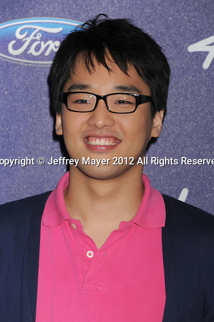 LOS ANGELES, CA - MARCH 01: Heejun Han arrives at the American Idol Finalists party at The Grove Parking Structure Rooftop on March 1, 2012 in Los Angeles, California.