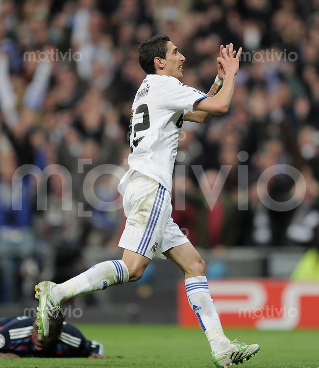 FUSSBALL   CHAMPIONS LEAGUE   SAISON 2010/2011   Achtelfinale  16.03.2011 Real Madrid  -  Olympic Lyon  JUBEL; Angel Di Maria (Real Madrid)