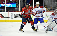 WASHINGTON, DC - APRIL 04: Washington Capitals left wing Alex Ovechkin (8) and Montreal Canadiens center Jordan Weal (43) battle in front of the net during the Montreal Canadiens vs. Washington Capitals NHL hockey game April 4, 2019 at Capital One Arena in Washington, D.C.. (Photo by Randy Litzinger/Icon Sportswire)
