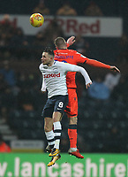 Preston North End's Alan Browne jumps with Millwall's Ryan Tunnicliffe<br /> <br /> Photographer Mick Walker/CameraSport<br /> <br /> The EFL Sky Bet Championship -  Preston North End v Millwall - Saturday 15th December 2018 - Deepdale-Preston<br /> <br /> World Copyright © 2018 CameraSport. All rights reserved. 43 Linden Ave. Countesthorpe. Leicester. England. LE8 5PG - Tel: +44 (0) 116 277 4147 - admin@camerasport.com - www.camerasport.com