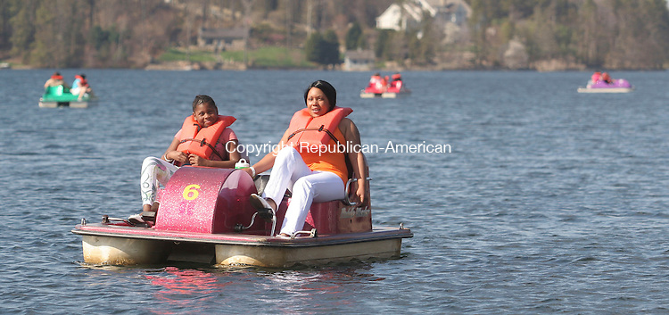 MIDDLEBURY, CT - 25 APRIL 2009 042509JW04 -- Gloria Biggs age 9 and Alisa Biggs of New Haven spend some time on the waters of Lake Quasapaug during the Families Festival at Quassy Amusement Park Saturday afternoon.  Jonathan Wilcox Republican-American