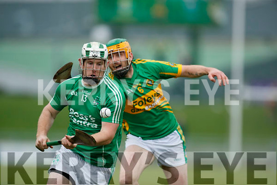 Padraig Boyle Ballyduff in action against Stephen Power Lixnaw in the Senior County Hurling Final in Austin Stack Park on Sunday