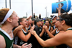 TAMPA, FL - MAY 20: The Le Moyne Dolphins celebrate after dumping water on Head Coach Kathy Taylor following  their victory over the Florida Southern Mocs during the Division II Women's Lacrosse Championship held at the Naimoli Family Athletic and Intramural Complex on the University of Tampa campus on May 20, 2018 in Tampa, Florida. Le Moyne defeated Florida Southern 16-11 for the national title. (Photo by Jamie Schwaberow/NCAA Photos via Getty Images)