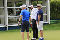 Shane Lowry (IRL) Ronan Flood and Brian Martin on the practice green during Sunday's storm delayed Final Round 3 of the Andalucia Valderrama Masters 2018 hosted by the Sergio Foundation, held at Real Golf de Valderrama, Sotogrande, San Roque, Spain. 21st October 2018.<br /> Picture: Eoin Clarke | Golffile<br /> <br /> <br /> All photos usage must carry mandatory copyright credit (&copy; Golffile | Eoin Clarke)