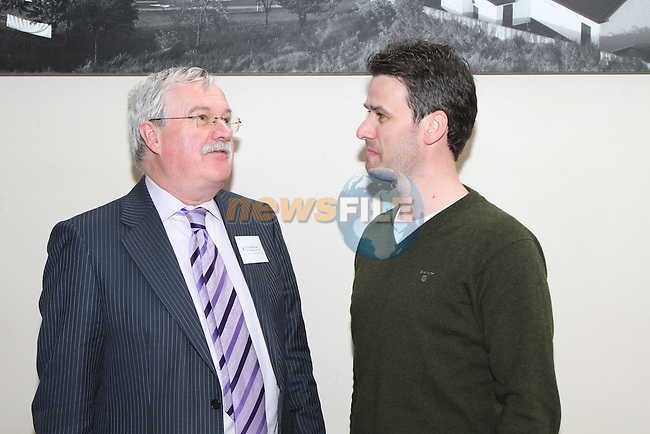 Last Years Dublin Chamber of Commerce President Peter Brennan(BID Management Services) with Drogheda Chamber of Commerce Graham Hughes, at the Quote to Tender Training Workshop in the DHotel...(Photo credit should read Jenny Matthews/www.newsfile.ie)....This Picture has been sent you under the conditions enclosed by:.Newsfile Ltd..The Studio,.Millmount Abbey,.Drogheda,.Co Meath..Ireland..Tel: +353(0)41-9871240.Fax: +353(0)41-9871260.GSM: +353(0)86-2500958.email: pictures@newsfile.ie.www.newsfile.ie.