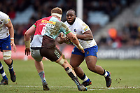 Beno Obano of Bath Rugby in possession. Aviva Premiership match, between Harlequins and Bath Rugby on March 2, 2018 at the Twickenham Stoop in London, England. Photo by: Patrick Khachfe / Onside Images