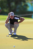 Maximilian Kieffer (GER) lines up his putt on the 16th green during Sunday's Final Round of the 2013 Omega Dubai Desert Classic held at the Emirates Golf Club, Dubai, 3rd February 2013..Photo Eoin Clarke/www.golffile.ie