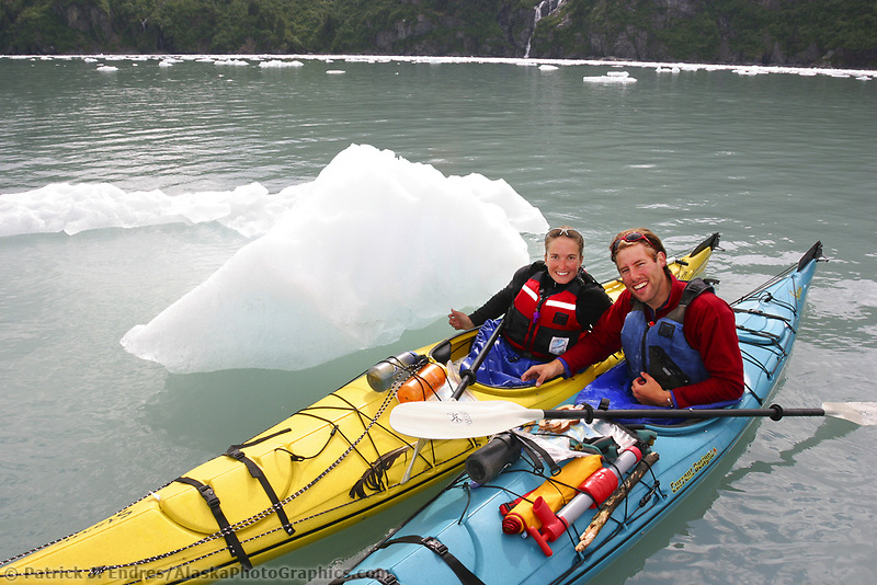 Kayakers at the entrance of Nassau fjord in Prince William Sound, Alaska