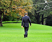 United States President Barack Obama departs the South Lawn of the White House in Washington, D.C. on Friday, October 14, 2011.  The President, accompanied by South Korean President Lee Myung-bak, will tour the General Motors Orion Assembly plant in Detroit, Michigan..Credit: Ron Sachs / CNP