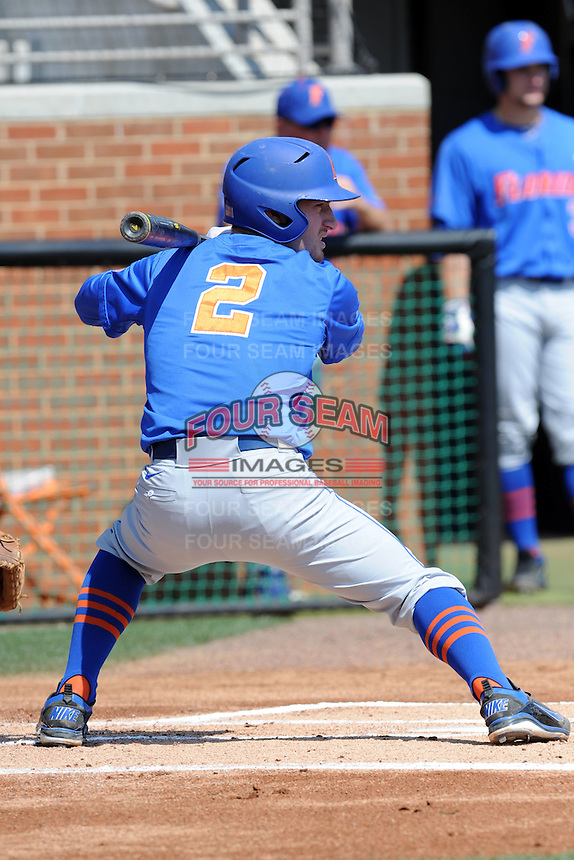 Florida Gators second baseman Casey Turgeon #2 awaits a pitch during a game against the Tennessee Volunteers at Lindsey Nelson Stadium, Knoxville, Tennessee April 14, 2012. The Volunteers won the game 5-4  (Tony Farlow/Four Seam Images)..