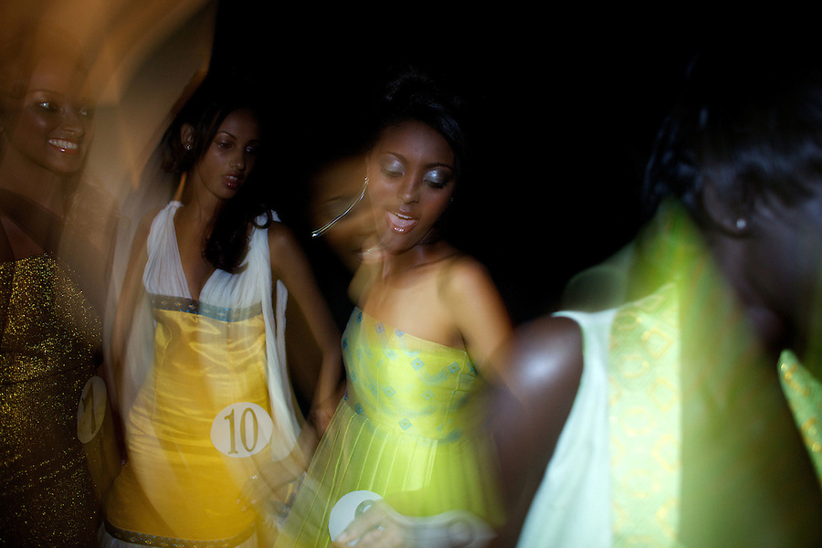 Contenders for the crow dance in the back stage during the 2009 MIss Ethiopia beauty pageant held at the Intercontinental Hotel in Ethiopia's Capital Addis Ababa on Sunday January 18 2009.