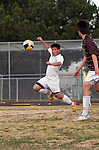 Palos Verdes, CA 01/22/13 - Kyle Katayama (Peninsula #6) in action during the West vs Peninsula boys varsity soccer game at Peninsula High School.