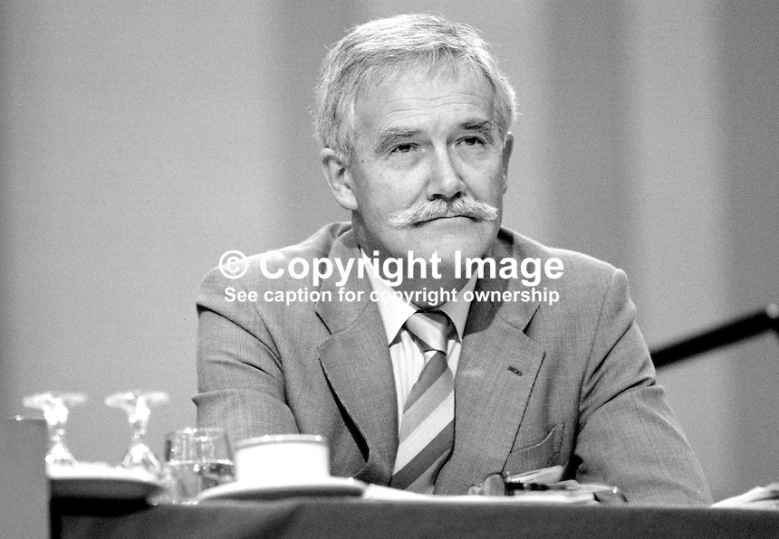 Tony Christopher, general secretary, Inland Revenue Staff Federation, trade union, UK, on the platform at Trades Union Congress annual conference 1984. 19840108TC2.<br />