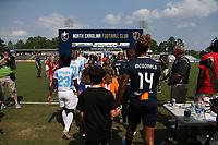 Cary, North Carolina  - Saturday April 29, 2017: Jessica McDonald (14) and Jasmyne Spencer (23) prior to regular season National Women's Soccer League (NWSL) match between the North Carolina Courage and the Orlando Pride at Sahlen's Stadium at WakeMed Soccer Park.