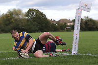 Upminster score their first try during Upminster RFC vs East London RFC, London 3 Essex Division Rugby Union at Hall Lane Playing Fields on 19th October 2019
