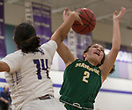 Bishop Manogue Lauren Vasquez (2) shot is blocked by Spanish Springs guard Autumn Wadsworth (14) during the class 4A Northern Regional Girls Basketball Championship game at Spanish Springs High School in Sparks, Nev., Saturday, Feb. 22, 2020.