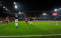 Sheffield United's Chris Basham takes on Manchester United's Andreas Pereira <br /> <br /> Photographer Alex Dodd/CameraSport<br /> <br /> The Premier League - Sheffield United v Manchester United - Sunday 24th November 2019 - Bramall Lane - Sheffield<br /> <br /> World Copyright © 2019 CameraSport. All rights reserved. 43 Linden Ave. Countesthorpe. Leicester. England. LE8 5PG - Tel: +44 (0) 116 277 4147 - admin@camerasport.com - www.camerasport.com