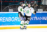 Stockholm 2014-11-16 Ishockey Hockeyallsvenskan AIK - IF Bj&ouml;rkl&ouml;ven :  <br /> Bj&ouml;rkl&ouml;vens Stefan &Ouml;hman firar sitt 1-1 m&aring;l med lagkamrater under matchen mellan AIK och IF Bj&ouml;rkl&ouml;ven <br /> (Foto: Kenta J&ouml;nsson) Nyckelord:  AIK Gnaget Hockeyallsvenskan Allsvenskan Hovet Johanneshov Isstadion Bj&ouml;rkl&ouml;ven L&ouml;ven IFB jubel gl&auml;dje lycka glad happy
