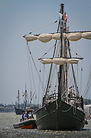 The Nina and Pinta, floating museums that are replicas of Christopher Columbus' ships, sailed through Gordon's Pass to dock at Tin City in Naples, Florida, USA, March 31, 2011. Photo by Debi Pittman Wilkey
